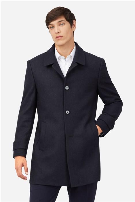Ted Baker Blue Black Textured Car Coat