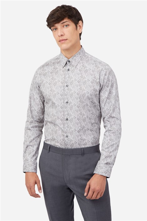 Ted Baker Grey Feather Print Shirt