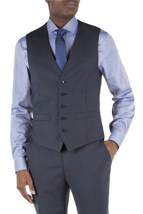 Tom English Navy Pick and Pick Tailored Waistcoat