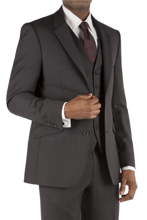 Tom English Charcoal Pick & Pick Tailored Fit Suit Jacket