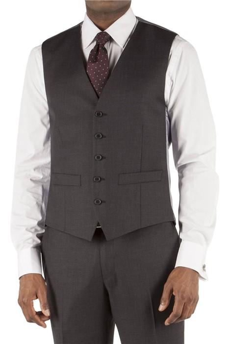 Tom English Charcoal Pick & Pick Tailored Fit Suit Waistcoat