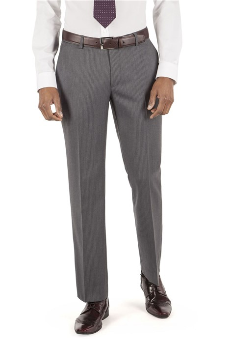 Tom English Grey Stripe Tailored Fit Suit Trouser