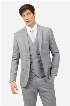 Ted Baker Light Grey Tonal Checked Suit Jacket