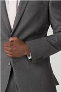 Grey Plain Regular Fit Suit Jacket