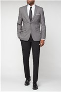 Grey Plain Weave Slim Fit Suit Jacket