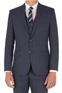 Blue Navy Check Slim Fitted Suit