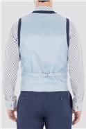 Casual  Blue Linen Waistcoat