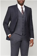 Blue Textured Wool Blend Tailored Fit Suit
