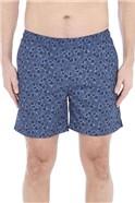 Blue Floral Print Swim Short