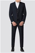 Branded Navy Classic Fit Suit Waistcoat
