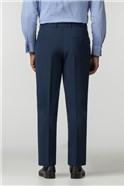 Plain Blue Panama Regular Fit Trousers