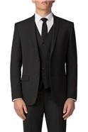 Plain Black Panama Slim Fit Waistcoat