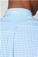 Sky Blue Short Sleeved Gingham Shirt
