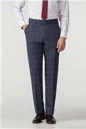 Navy Check Regular Fit Trousers