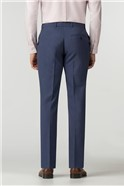 Tailored Fit Blue Textured Panama Suit Trouser