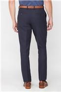 Navy Textured Wool Blend Regualr Fit Travel Suit