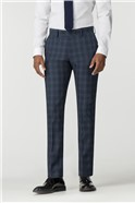Stvdio Slate Blue Check Super Slim Fit Brit Suit Trousers