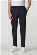 Navy Cotton Blend Trousers
