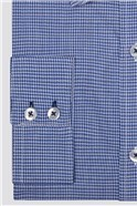 Blue and White Jacquard Check Shirt