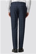 Deep Blue Burgundy Check Slim Fit Trouser
