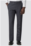 Blue Textured Check Slim Fit Trouser