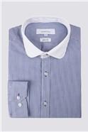 Blue Stripe Penny Round Slim Fit Shirt