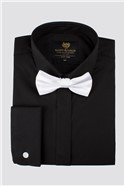Black Poplin Regular Fit Shirt with White Bow Tie
