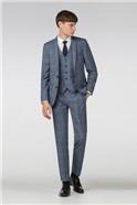Blue Windowpane Check Slim Fit Suit