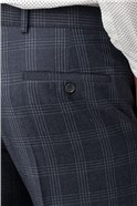 Blue Wool Blend Check Slim Fit Trousers