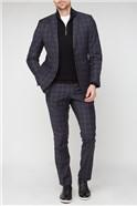 Stvdio Navy Rust Grid Check Wool Blend Suit Trouser