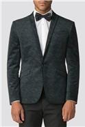 Forest Printed Skinny Fit Mens Velvet Blazer
