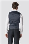 Navy Herringbone Tailored Fit Waistcoat