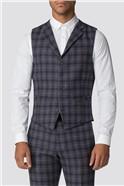Blue Burgundy Check Slim Fit Suit