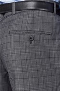 Grey Check Tailored Fit Suit Trouser
