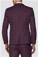 Branded Crimson Checked Skinny Fit Suit