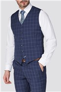 Stvdio Blue Windowpane Checked Slim Fit Ivy Waistcoat