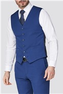 Stvdio Bright Blue Jaquard Super Slim Fit Brit Waistcoat