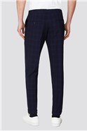 Branded Navy Checked Slim Fit Trousers
