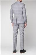 Pale Grey Lavender Check Slim Fit Jacket
