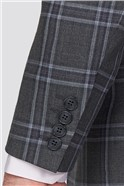 Grey Blue Check Tailored Fit Suit