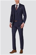 Branded Navy Tonal Checked Tailored Fit Trousers