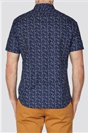 Navy Abstract Leaf Print Shirt