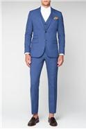 Dusky Blue Textured Tailored Fit Waistcoat