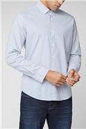 White & Blue One Print Shirt