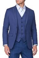 Deep Blue Textured Linen Blend Jacket