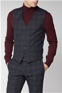 Navy Green Check Skinny Suit