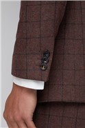 Burgundy Check Slim Fit Mens Suit