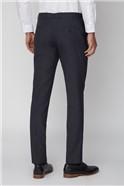 Navy Micro Check Slim Trousers