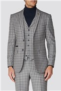 Grey Navy Check Tailored Fit Suit Trouser