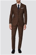 Rust Heritage Check Tailored Fit Suit Jacket